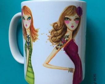 Tattooed Girls, Coffee Mug, Fashion Illustration, Bella Pilar, Fashion Mug
