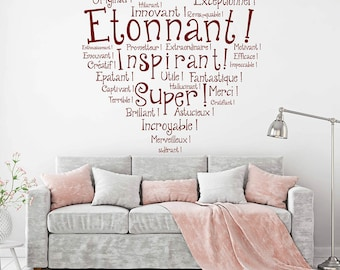 French Wall Decal Quotes, Etonnant Vinyl Wall Art Lettering & inspiring Wall Decor Stickers Wall Quotes Lettering#723Q
