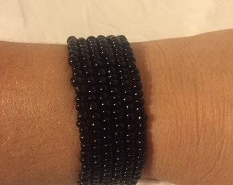 Set of 6 Black Stretch Bracelets- beaded stack bracelets-beaded bracelet