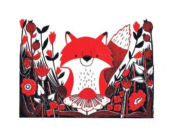Flower Foraging Fox - Lino Print