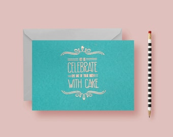 Birthday Greeting Card - Birthday Card - Copper Embossed Greeting Card, Teal Card - Pretty, Modern & Fresh - FREE SHIPPING