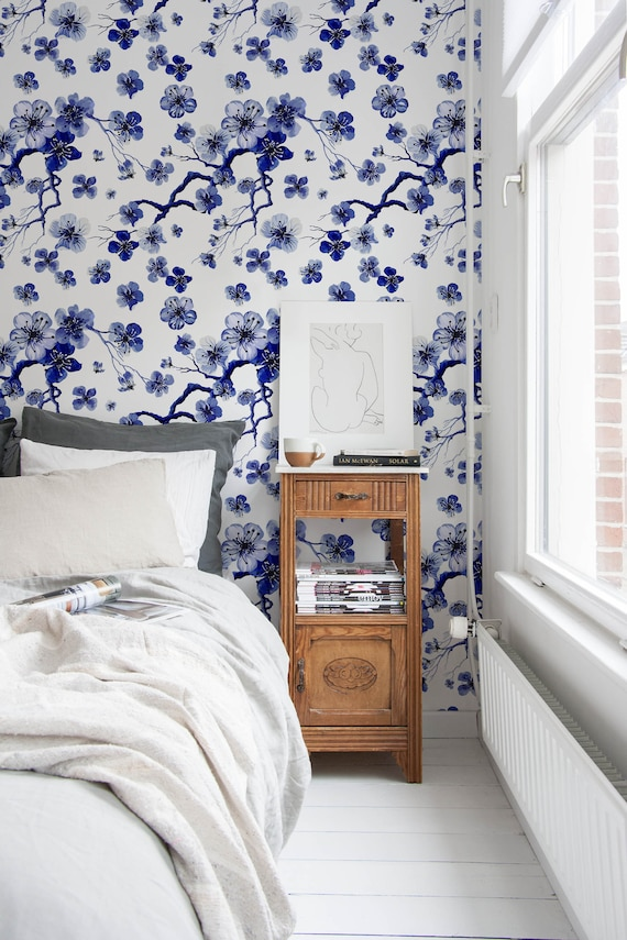 Blue blossom wallpaper removable wall decor peel and stick like this item teraionfo