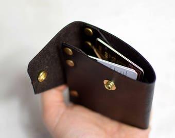 Leather wallet - mens wallet - brown bifold wallet - bifold wallet - slim wallet - mens gift - wallet for him - brown rivet wallet - gift