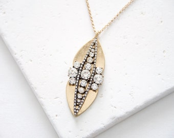 Long Antique Gold Rhinestone Pendant | marquise shape long necklace