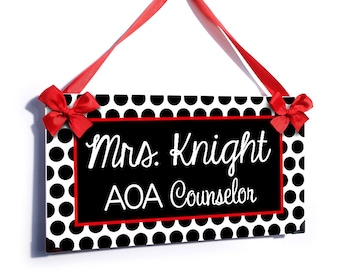 personalized school counselor classroom door sign - red and black polka dots - simple and elegant graduation gift - P2090