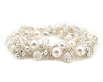 Pearl Bracelet | Crystal Bracelet | Bridal Bracelet | Bridal Jewelry | Wedding Jewelry | Crystal Jewelry | Swarovski Pearls & Crystals