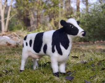 Cow wool felted handmade animal