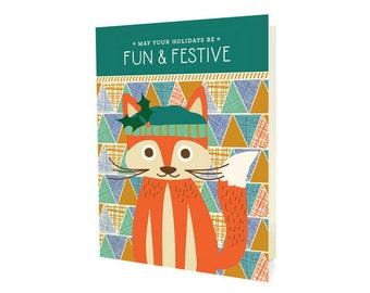 Festive Fox Folded Holiday Cards, Box of 10 - Christmas Cards - Fun & Festive - OC1179-BX