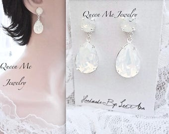 Swarovski White opal crystal earrings Swarovski Crystal teardrop wedding earrings Brides Bridesmaids Wedding Bridal earrings Jewelry SOPHIA