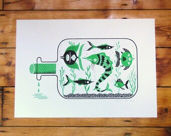 Aquarium In A Bottle - Risograph, Riso, Art, Print