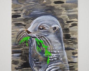 Otter ORIGINAL Painting on Wood