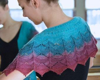 Morgentau, shawl knitting, pattern PDF