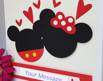 3D Mickey and Minnie Mouse Love I Love You Card Personalised Valentine Handmade VT05