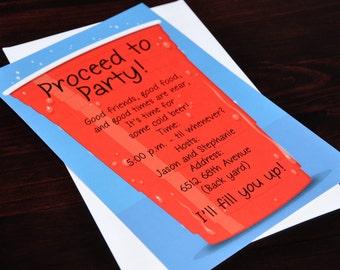 Big Red Cup Party Invitation, Birthday Bash Family Party, Pool, BBQ, Outdoor Celebration, Original Digital Invitation, ISN1273