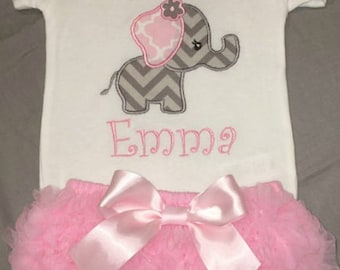 Baby Girl Summer Outfit, Baby Girl Elephant Outfit, Baby Girl Shower Gift, Baby Girl Coming Home Outfit, Girl Elephant Outfits