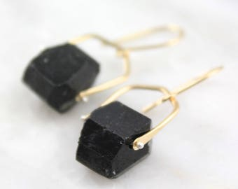 Natural Black Tourmaline in Pinned Gold Setting Earrings
