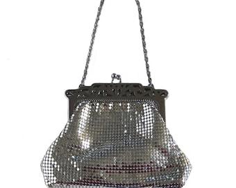 Vintage 1940's Art Deco Silver Mesh Handbag by Whiting and Davis