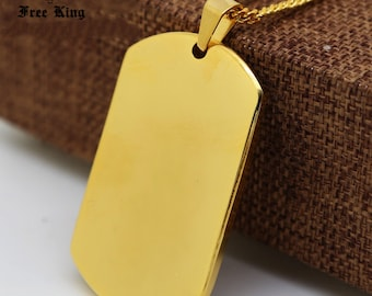 Gold Dog Tag Blank Stamping Engraving Blanks Tags Stainless Steel High Quality 5cm x 3cm Personalize Necklace Jewellery Making Stamping