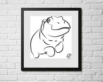 Hippo Swimming, Animal Art Print, Animal Art Kids, Animal Artwork, Animal Art for Kid's Room, Animal Art Print Kids, Digital Downloads