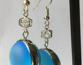Blue and Silver earrings, silver studded blue beads and Crystal cage
