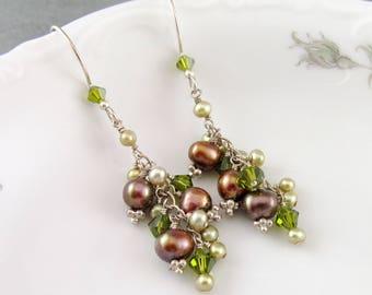 Pearl cluster earrings, handmade sterling silver freshwater pearls and Swarovski crystal elements earrings-Yelana June birthstone