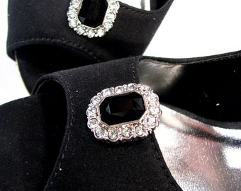 Black Shoe Clips White Rhinestones Octagon Shape 1 Pair Jewels for your Shoes