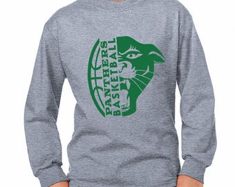Youth Panther Basketball Long-Sleeve Shirt - School Spirit - Panthers - Unisex Long Sleeve Gray Tee