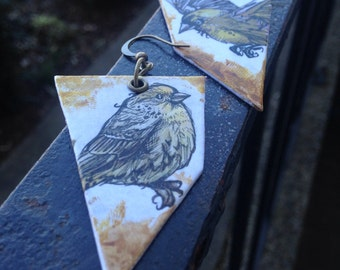 Birdie Sanders - Hand-Painted yellow finch bird earrings Portland Oregon - half to campaign