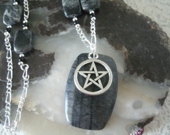 Picasso Marble Pentagram Necklace, wiccan jewelry pagan jewelry wicca jewelry witch witchcraft pentacle necklace gothic wiccan necklace