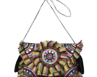 Afflon Banjara Hand beaded Multi Color Lace Embroidery Clutch bag