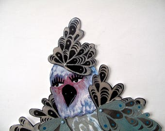 Silver Aqua Birdlady Original Paper Doll Articulated / Hinged Beasts Series