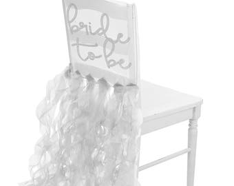 Bride Chair Cover - Rhinestones or rose gold metallic on organza, Bridal Shower Decoration, Bride to Be, Wedding decorations, Reception