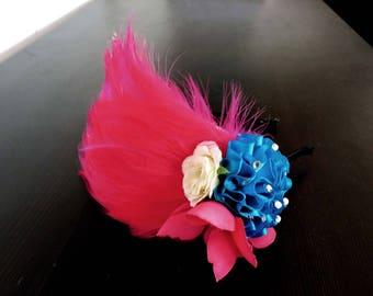 Pink Feather Art Deco Headband Flapper Great Gatsby Fascinator