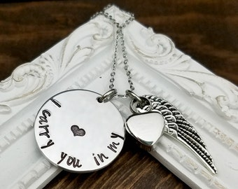 Cremation Memorial Necklace - I Carry You In My Heart Necklace - Remembrance Necklace - Sympathy Gift - Memorial Necklace