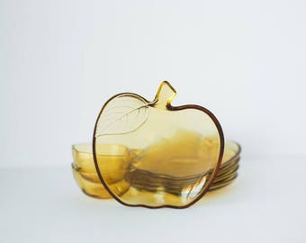 Vintage Amber Toned Apple Plate and Bowl Set