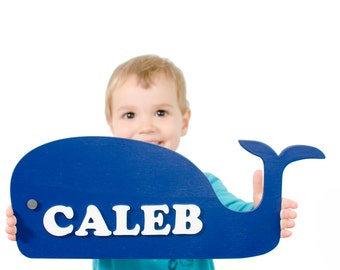 Kids Personalized name Sign – Nautical Nursery decor - Blue Whale name plaque - Door hanger - Whale Nursery Decor – Boy Baby Shower Gifts