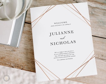 Rose Gold Wedding Itinerary, Printable Wedding Itinerary, Wedding Welcome Letter, Printable Welcome Letter, Itinerary Printable, #GIS