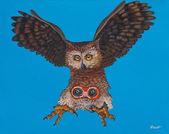 "Digital Print 11x14"" from original Artwork of  Vintage Transistor Radio Owl on Blue"