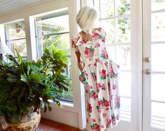 Vintage 1940's maternity dress by Gay Deceivers Edith Phillips floral never been worn