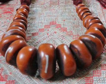 Large & Heavy Berber Henna Amber RESIN Beads with Metal Pieces Necklace, Faux Amber, Morrocan Sahara