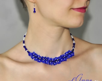 Royal blue necklace Blue Girlfriend gift Blue flower necklace choker Navy Blue necklace White Blue Flower Necklace Blue Statement Necklace