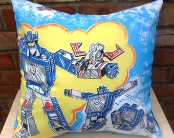Transformers G1 Soundwave Optimus Prime Vintage Fabric Cushion - handmade by Alien Couture