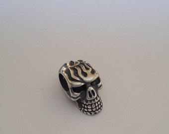 1 Solid Sterling Silver fire flame Skull Charm bead for European Charms bracelet 4.2 mm hole