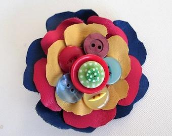 Corsage, leather flower, rainbow corsage, flower brooch, leather & button corsage, button flower corsage, festival flowers corsage, rainbow
