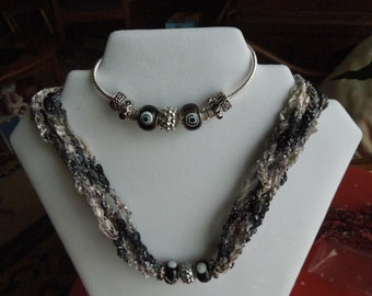 Basic Black (and silver) necklace and bracelet