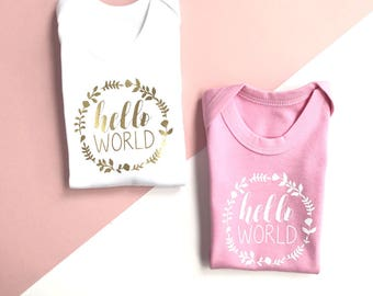 Hello World Bodysuit | Hello World Vest | Coming Home Outfit | Take Home Outfit | Going Home Outfit | Floral Circle Hello World