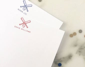 Baseball Stationary - Boys Sports Stationery Set of 20 Flat Note Cards - Kids Thank You Notes