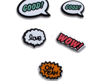 Comic Words Colorful Resin Cabochons Kitsch Decoden Flat Back Accessories Bows DIY 022417