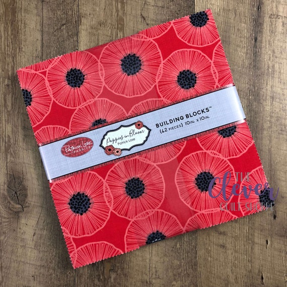 Layer Cake, Squares, Poppies in Bloom, Patrick Lose, Black, Red, White, Poppies, Floral, Flowers, Oriental Poppies, Precut, Quilting Fabric