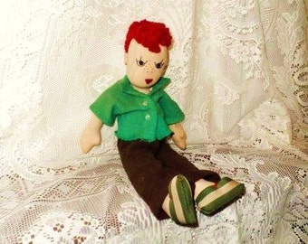 Anatomically Correct Handmade Boy Doll- Old Rag Dolly- Red Hair-Freckles- Hand Sewn Unique Vintage Cloth Doll- Hand Sewn Male Toy Doll- Wow!